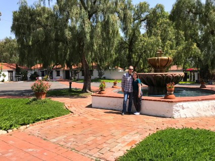 Brian and Natalie Bourn at the Mission San Diego Fountain