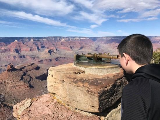 Carter Bourn Using a Grand Canyon Viewing Telescope