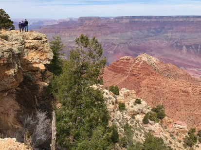 Carter, Natalie, and Brian Bourn at Navajo Point in Grand Canyon National park