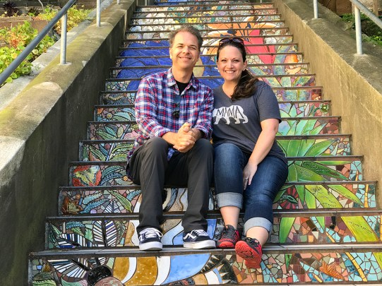 Brian and Jennifer Bourn at the Hidden Garden Steps In San Francisco