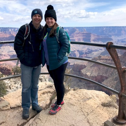 Brian and Jennifer Bourn at Trailview Overlook With Grand Canyon in the Background