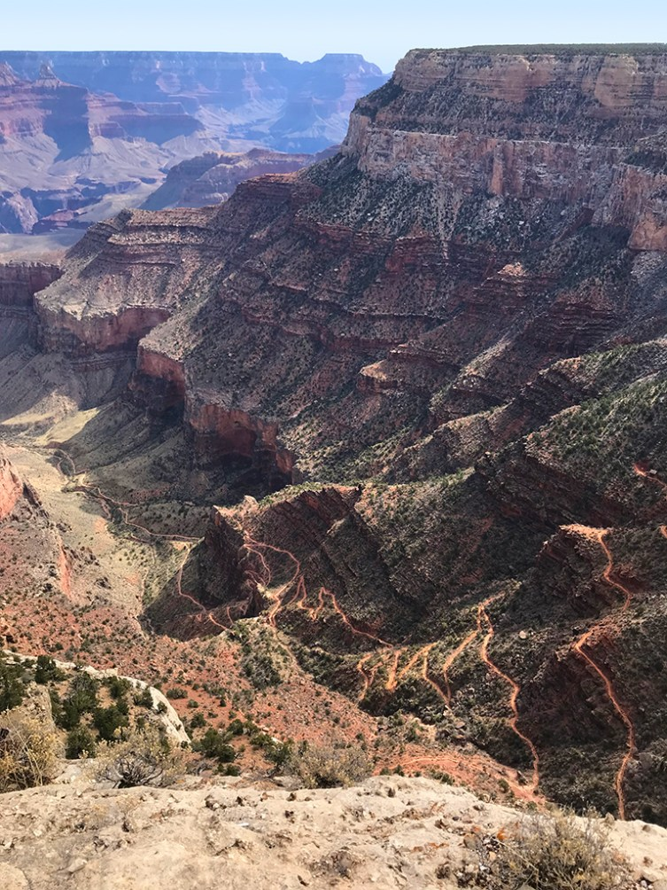 The Bright Angel Trail Switchbacks down Grand Canyon From Trailview Overlook