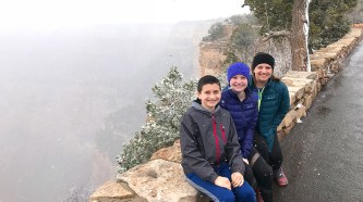 Carter, Natalie, and Jennifer Bourn In The Grand Canyon Snow