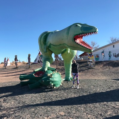 Natalie Bourn at the Painted Desert Indian Center With A Dinosaur Eating Another Dinosaur