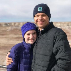 Natalie and Brian Bourn at the Petrified Forest National Park Jasper Forest Overlook