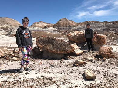 Natalie and Carter Bourn Checking Out Petrified Wood on The Petrified Forest Blue Mesa Trail