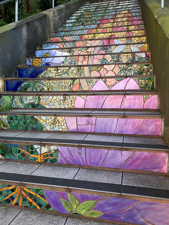 San Francisco Mosaic Tiled Garden Staircase