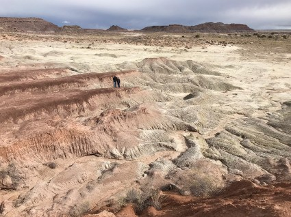 Brian and Carter Bourn in the Petrified FOrest National Park Badlands