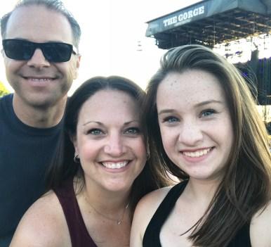 Brian, Jennifer, and Natalie Bourn at The Gorge