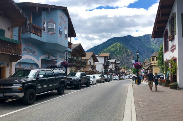 Brian and Carter Walking Through Leavenworth