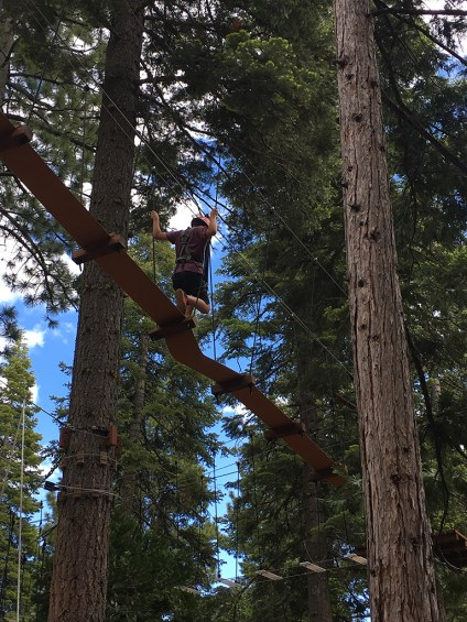 Carter Bourn at the Tahoe Treetop Ropes Course