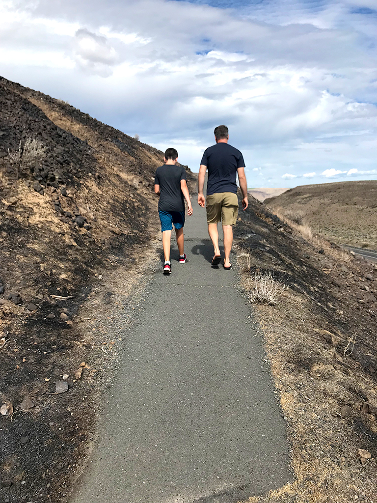 Carter and Brian Bourn Walking the Trail at the Ginko Petrified Forest State Park