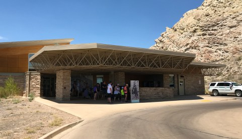 Waiting for the shuttle to the Quarry Exhibit Hall at Dinosaur National Monument