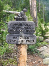 Wooden Sign For the Adams Falls Viewing Area