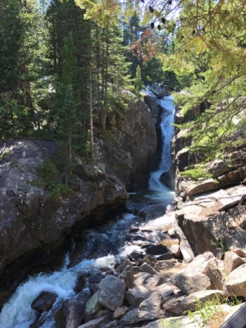 Chasm Falls a 25 foot waterfall in Rocky Mountain National Park