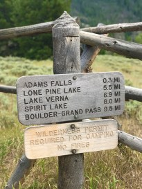 Wooden East Inlet Trail Sign for Adams Falls