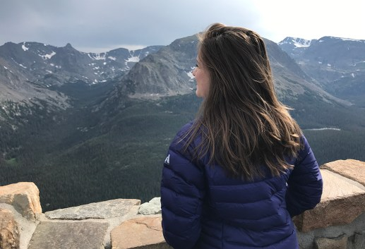 Natalie Bourn Taking in the View At The FOrest Canyon Overlook in Rocky Mountain National Park