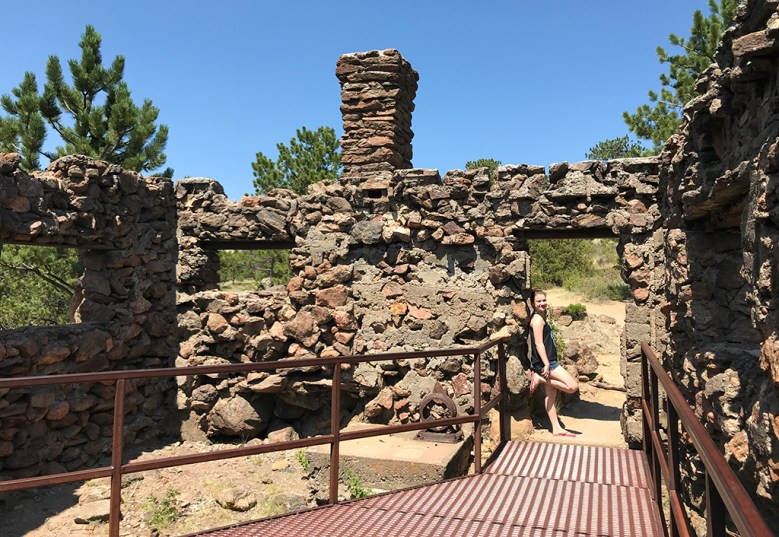 Natalie Bourn Visiting the Birch House Ruins