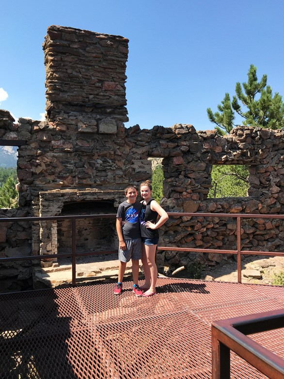 Natalie and Carter Bourn at the Birch House Ruins in Estes Park