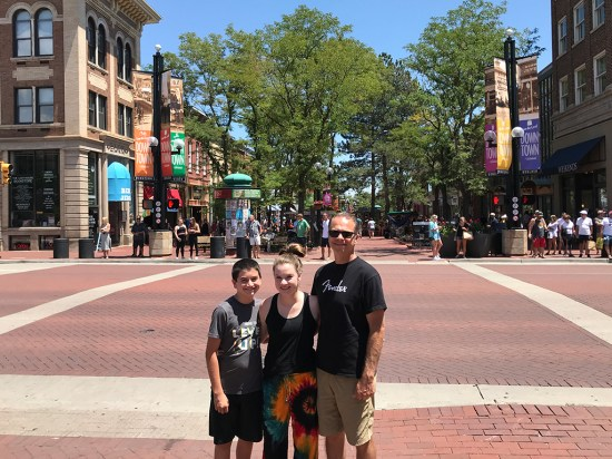 Carter, Natalie, and Brian Bourn at Pearl Street Mall