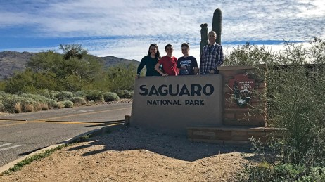 Bourn Family at the Saguaro National Park Entrance Sign