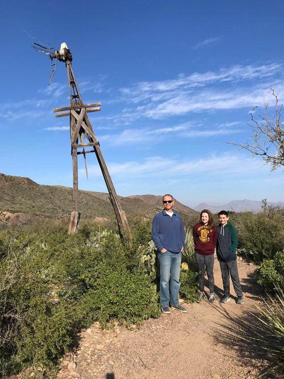 Brian, Natalie, and Carter at the Old Windmill at Sam Nail Ranch