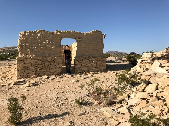 Carter Bourn in the Adobe Ruins on the Ghost Town at Terlingua, Texas