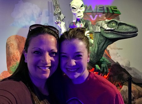 Jennifer and Natalie Bourn at the Aliens vs. Dinosaurs Museum in Arizona