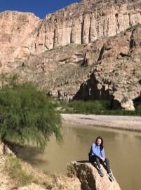 Natalie Bourn Sitting ALong the Rio Grande River at Boquillas Canyon