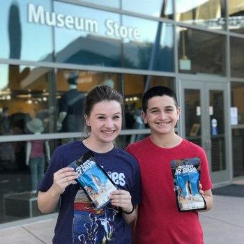Natalie and Cartter eating Space Food at the Pima Air And Space Museum