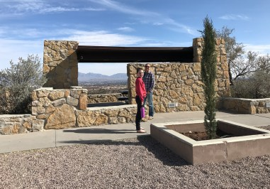 Natalie and Brian standing outside a picnic shelter at the Scenic View Rest Area in Las Cruces, New Mexico