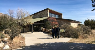 Carter, Natalie, and Brian Bourn at the Pine Springs Visitor Center at Guadalupe Mountains National Park