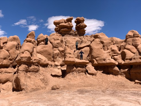 Carter and Brian Bourn Climbing the Goblin Valley Rock Formations