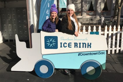 Natalie Bourn and Alaina Roberts at the Downtown Sacramento Ice Rink