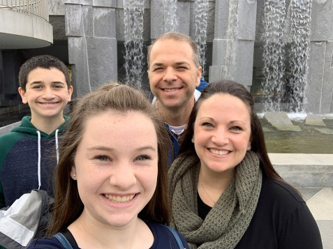 Bourn Family Standing In Front of the Martin Luther King Jr. Fountain at Yerba Buena Gardens