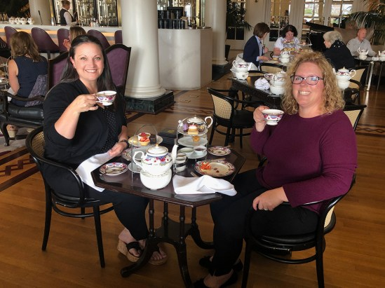 Jennifer Bourn and Melissa Lema Enjoying High Tea