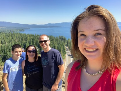 Bourn Family Hiking Eagle Rock Trail at Lake Tahoe