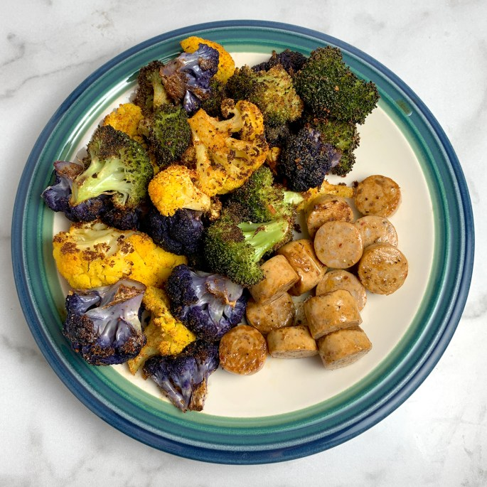 Chicken Sausage and Roasted Broccoli and Cauliflower