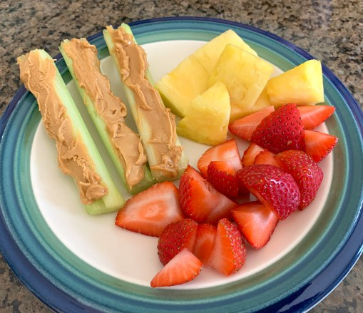 Celery And Almond Butter and Fresh Fruit