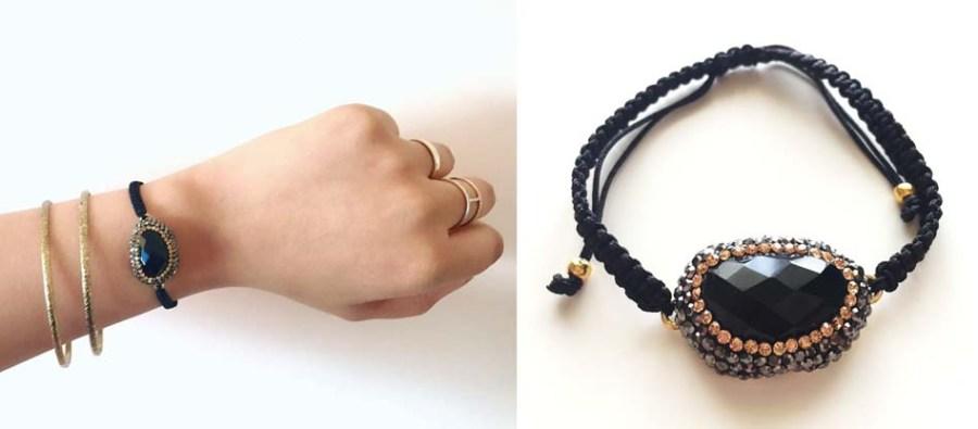 April Favourites E L A London ELA Elena Antoniades Store Knightsbridge Black Onyx Swarovski Crystal Bracelet Macrame Jewellery