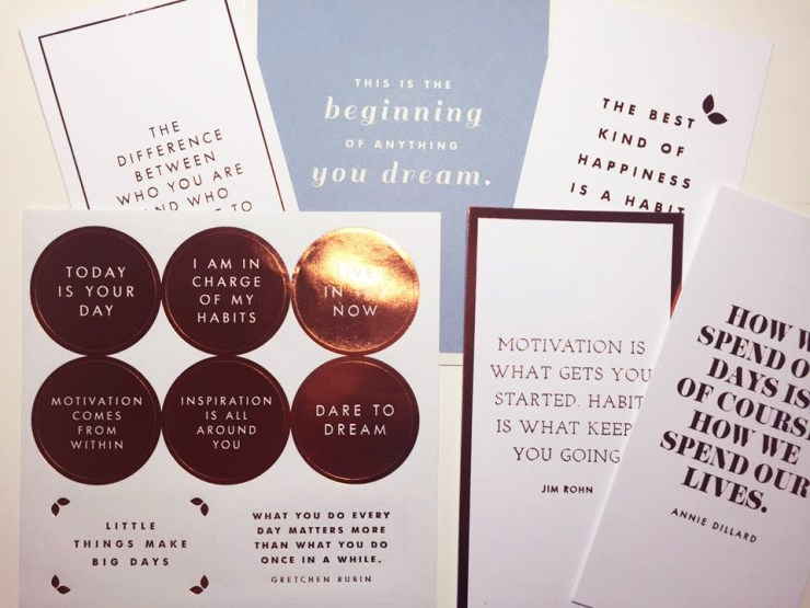 Habits Happy Healthy Kikki.K Box Stickers Quote Cards