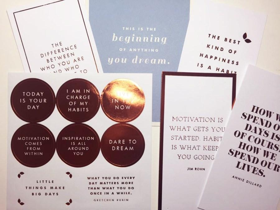 Habits Happy Healthy Kikki.K Box Stickers Quote Cards