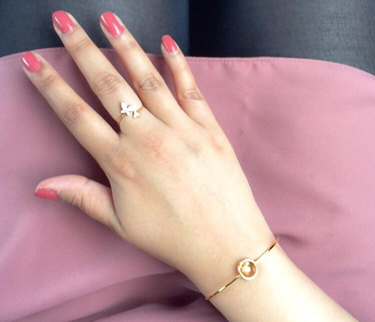 Zara Taylor Jewellery Ring Bracelet Pink Dress