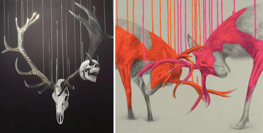 november-favourites-louise-mcnaught-art-artist-illustrator-trophy-skull-deer-antlers-colour-sketch