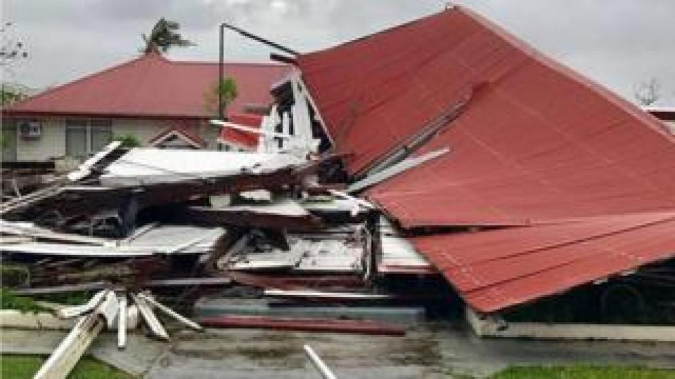 """A damaged building at the Parliament House in Tonga's capital of Nuku""""alofa after Cyclone Gita hit the country."""