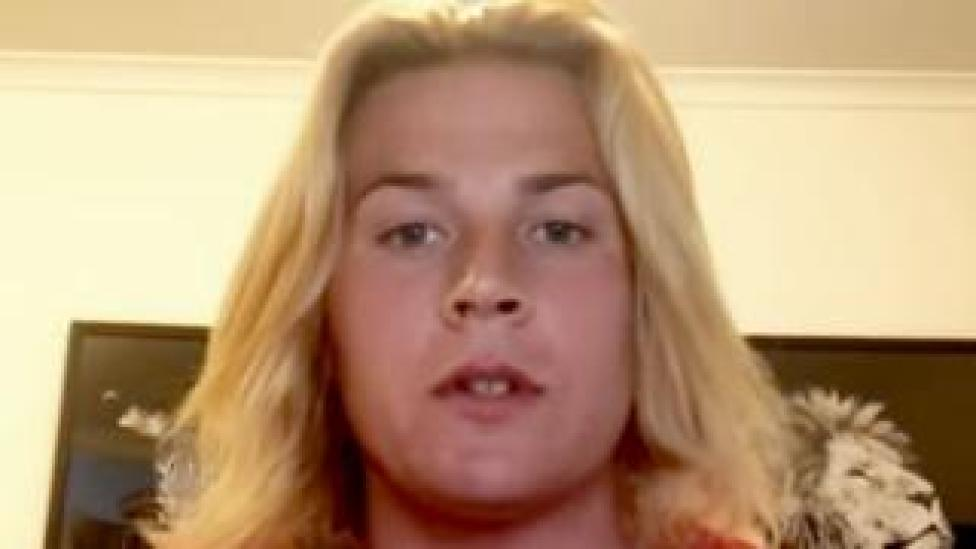 Screengrab of Hannah Mouncey from her Youtube video statement on 13 February 2018