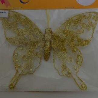 Gold glitter butterfly