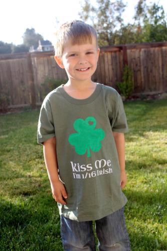 Kiss Me Irish Shamrock Boys Shirt DIY