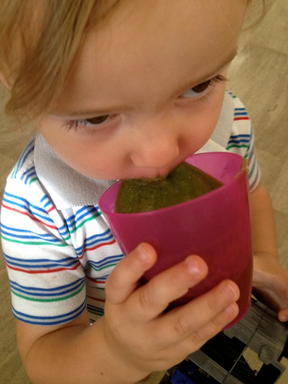 Akiva drinking his delicious green smoothie
