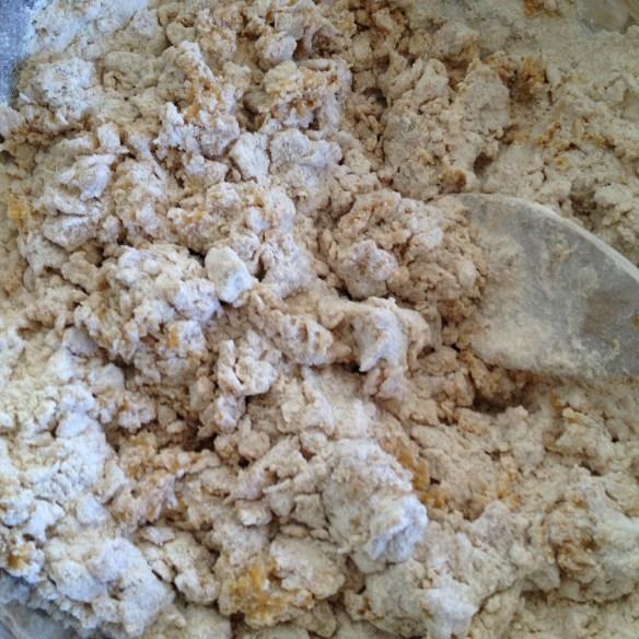 Mixing together hamantaschen dough